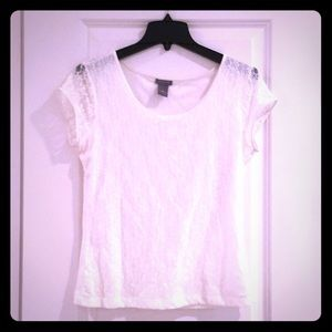 White Lined Lace Ann Taylor Blouse
